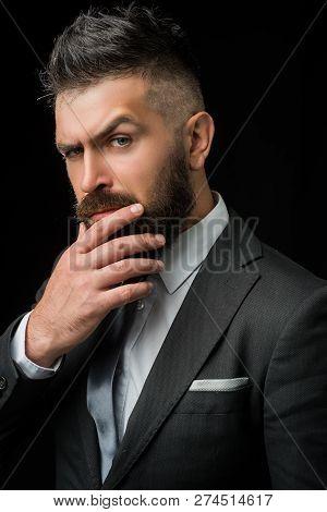 Meeting Suit. Businessman In Dark Grey Suit. Man In Classic Suit, Shirt And Tie