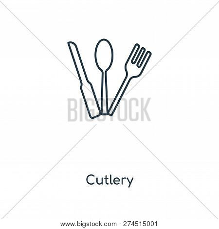 Cutlery Icon In Trendy Design Style. Cutlery Icon Isolated On White Background. Cutlery Vector Icon