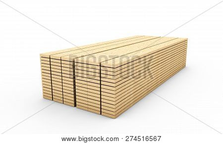 Wood Boards. Lath Boards Isolated On White Background 3d Render