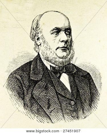 "Portrait of President France  Republic  Jules Grevy. Illustration by Alwin Zschiesche, published on ""Illustrierts Briefmarken Album"", Leipzig, 1885."