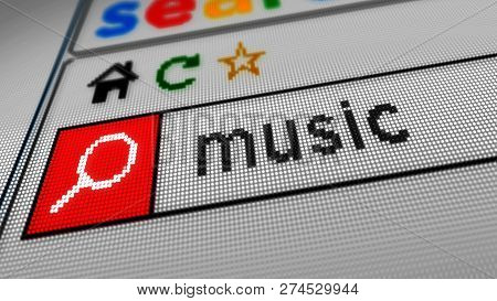 Searching For Music On The Internet. Typing Keyword In Www Browser On Computer, Smartphone Or Tablet
