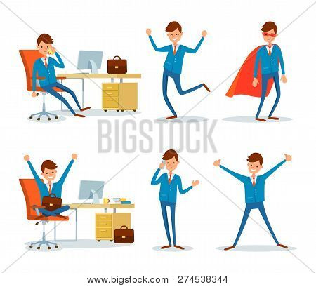 Man Hero With Cloak And Businessman Working In Office By Table Vector. Talking With Clients, Hotline