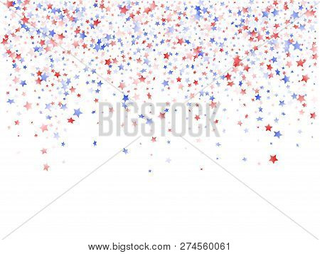 American Presidents Day Stars Background. Confetti In Usa Flag Colors For Independence Day.  Vivid R