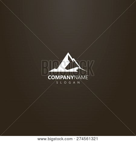 White Logo On A Black Background. Vector Geometric Outline Logo Of High Peak Rocky Mountains