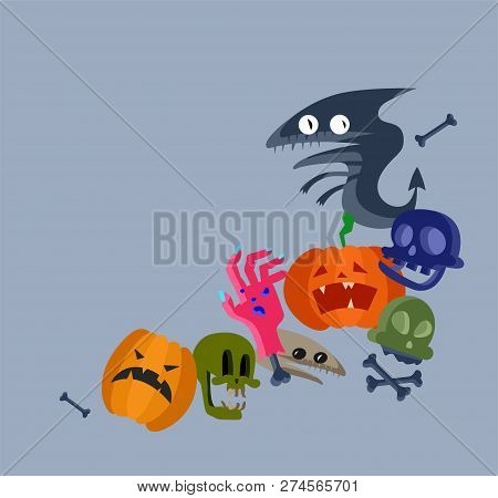 Vector Icon And Element For Helloween. Greeting Card For Happy Halloween Design Icon. Concept Illust