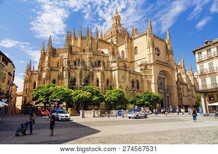 Segovia, Spain - September 6: A Cathedral Of Segovia -- The Catholic Cathedral Located At Mayor Squa