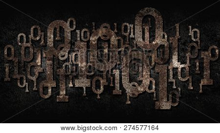 Rusty Matrix Binary Code, Outdated Software, Dark Rusted Cellular Background With Digital Binary Cod