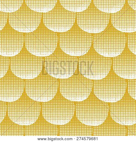 Wedding, Christmas, Party Seamless Vector Background Gold Textured Circles. Golden Dots On White Bac
