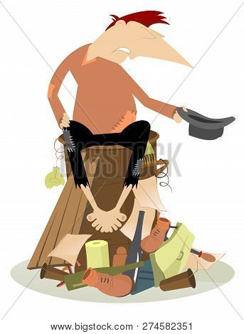 Sad Beggar On The Scrapheap Illustration. Hungry And Chilled Man Sits On The Pile Of Garbage And Ask