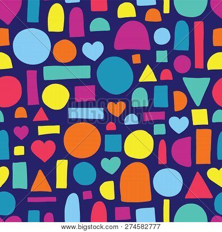 Hand Drawn Shapes Seamless Vector Pattern. Hearts, Circles, Half Circles, Rectangles, And Squares Pa
