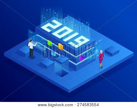 Isometric Business New Year 2019 Concept, Digital Technologies. Business Solution, Planning Ideas. N