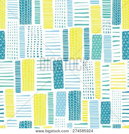Seamless Vector Geometrical Pattern With Abstract Rectangles. White Blue Yellow Hand Drawn Endless B