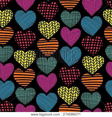 Doodle Hearts Seamless Vector Pattern. Teal, Blue, Red, Pink, Orange Hearts On Black Background. Tex