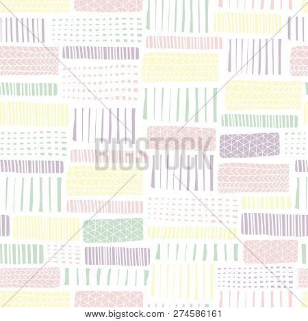Seamless Vector Geometrical Pattern With Abstract Rectangles. White Pink Yellow Hand Drawn Endless B