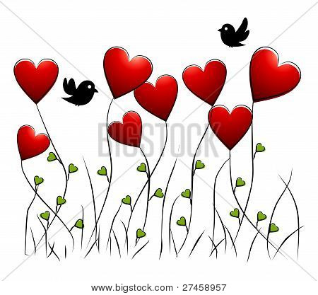 Flowers - romantic floral background with birds and hearts