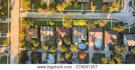 Panoramic Aerial View Residential Subdivision And Cul-de-sac Street Near Dallas, Texas