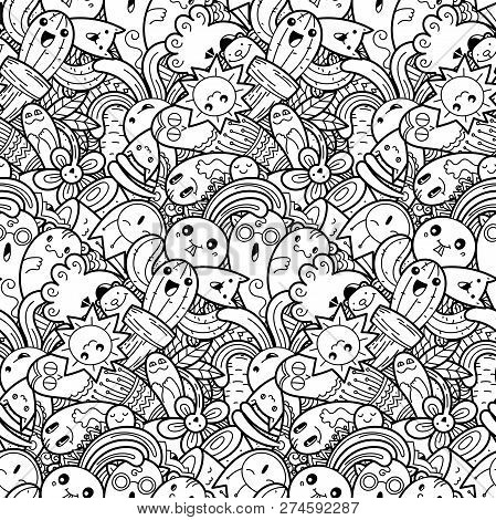 Funny Doodle Monsters On Seamless Pattern For Prints, Cards, Designs And Coloring Books. Vector Illu