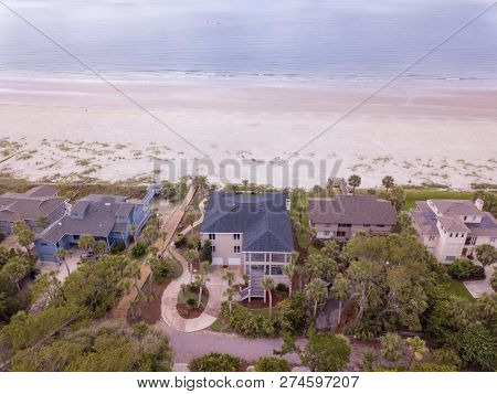 Aerial view of beach front properties in South Carolina, USA.