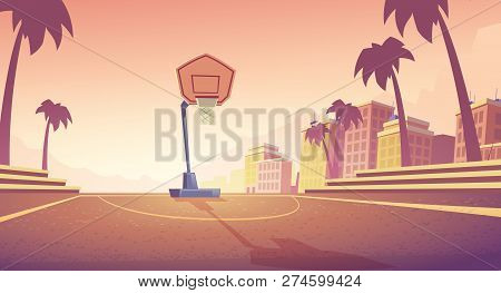 Vector Cartoon Background With Basketball Court In City, Athletic Field With Backboard, Basket And R