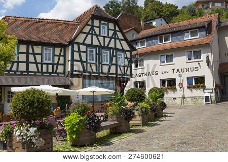 31.07.2018. Ancient Town Eppstein , Germany.  Street Of Old Town. Historic Half-timbered Town Near F