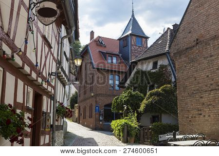 Ancient Town Eppstein , Germany.  Street Of Old Town. Historic Half-timbered Town Near Frankfurt. To