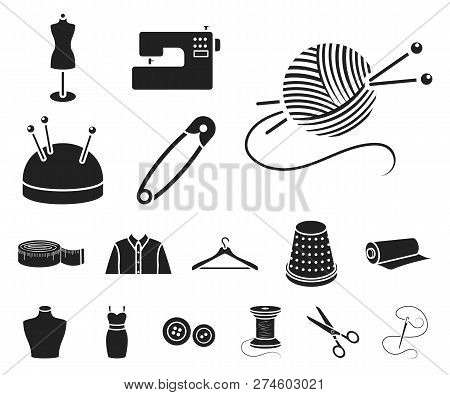 Atelier and sewing black icons in set collection for design. Equipment and tools for sewing vector symbol stock web illustration. poster