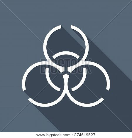 Bio Hazard Icon. Warning Sign About Virus Or Toxic. Linear Design. White Flat Icon With Long Shadow
