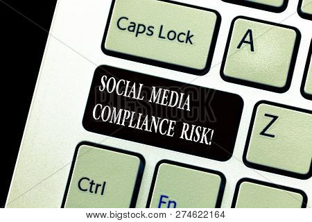 Word Writing Text Social Media Compliance Risk. Business Concept For Risks Analysisagement On The In