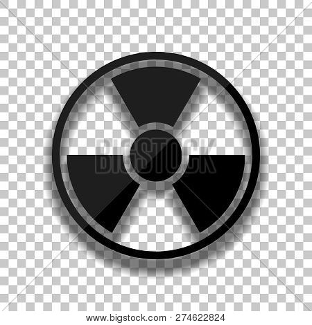 Hazard, Radiation. Simple Silhouette. Black Glass Icon With Soft Shadow On Transparent Background