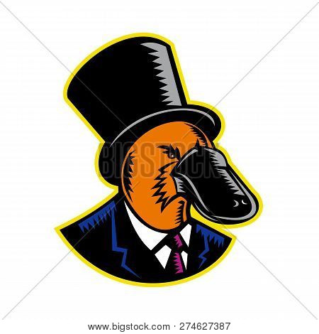 Retro woodcut style illustration of a duck-billed platypus, a semiaquatic egg-laying mammal endemic to eastern Australia, wearing a topper or top hat and suit on isolated background in color. poster