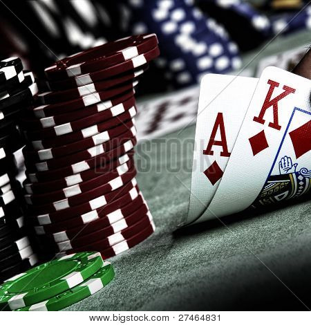 ace, king and poker chips stack poster