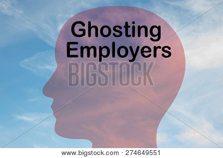 Render Illustration Of Ghosting Employers Title On Head Silhouette, With Cloudy Sky As A Background.