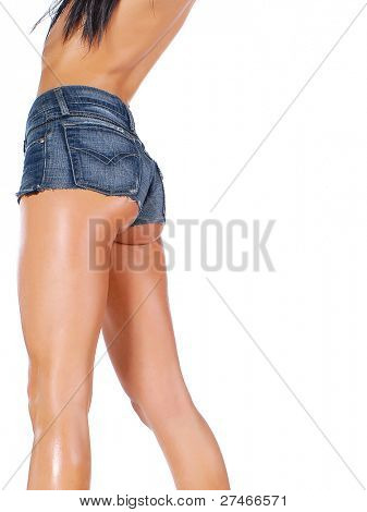 young sexy woman wearing jean shorts