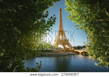 Seine in Paris with Eiffel tower