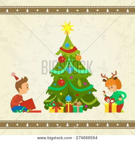 Christmas Holiday Atmosphere, Children With Gifts Vector. Kids Boy And Girl By Pine Evergreen Tree U
