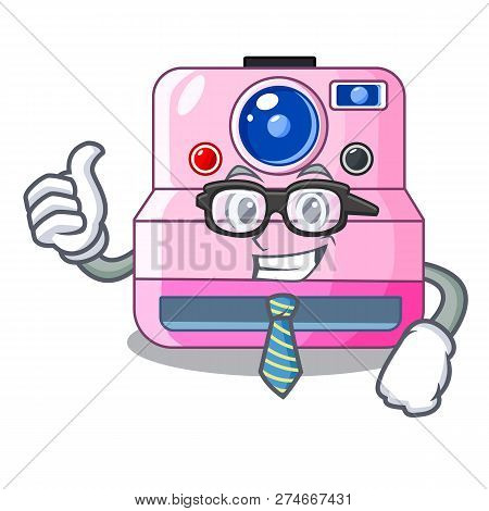 Businessman Instant Camera With Revoke Cartoon Picture