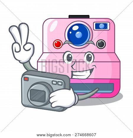 Photographer Instant Camera In A Shape Character