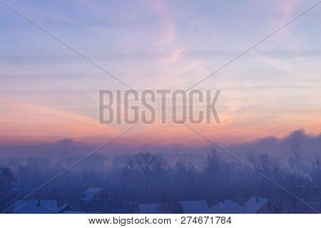 Winter Dawn In Siberia. Winter Sky At Dawn In Siberia.