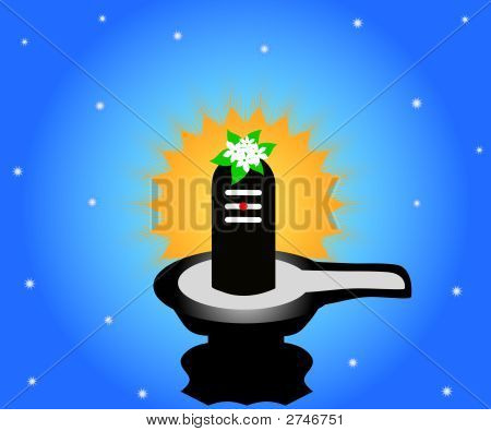 The Indian god Shivalinga with sun background poster