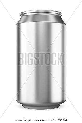 Single Blank Metallic Beer Can Isolated On White