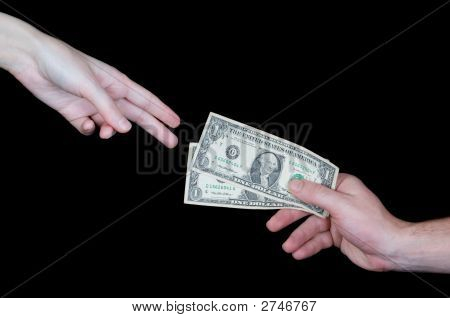Hand Giving Dollars