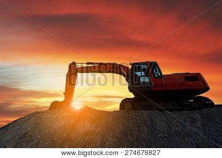 Construction Equipment Of Street Construction. Business Construction. Construction Site On Sky Backg