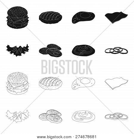 Isolated Object Of Burger And Sandwich Symbol. Set Of Burger And Slice Vector Icon For Stock.