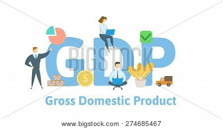Gdp, Gross Domestic Product. Concept With Keywords, Letters And Icons. Flat Vector Illustration. Iso