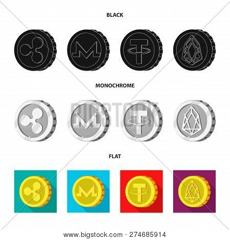 Vector Illustration Of Cryptocurrency And Coin Symbol. Collection Of Cryptocurrency And Crypto Stock