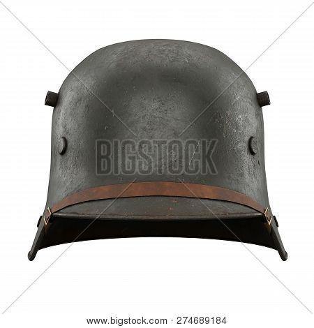 German Helmet Stahlhelm M1916 Of World War I, Used German Troops Ww1. Front View. Authentic Soldier