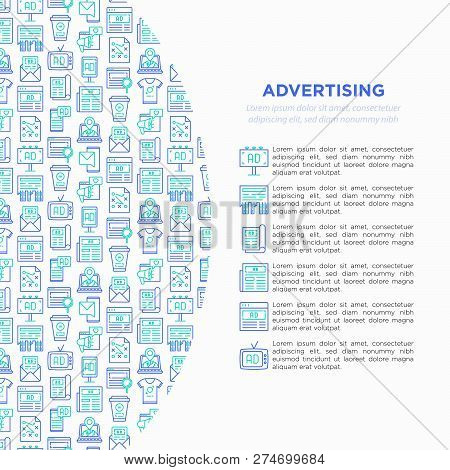 Advertising Concept With Thin Line Icons: Billboard, Street Ads, Newspaper, Magazine, Product Promot