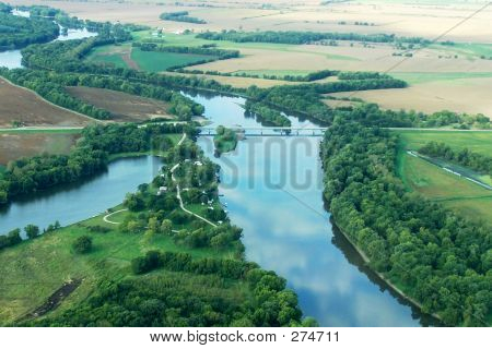 Aerial View Of River & Campground