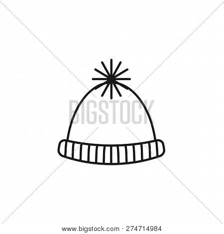 Black & White Illustration Of Knitted Warm Pompom Hat . Vector Line Icon Of Winter Handmade Clothes.