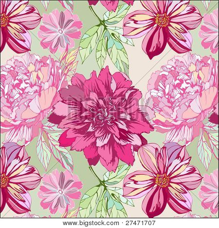 seamless pattern with dehlia